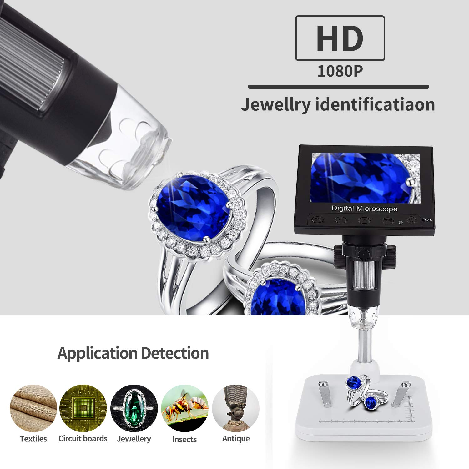 Portable LCD Digital Microscope, HongDiXiang 4.3 inch 1000X Magnification Zoom HD 1080P, Adjustable LED Light Camera Video Recorder for Insectobservation Jewelry Identification and Circuit Maintenan