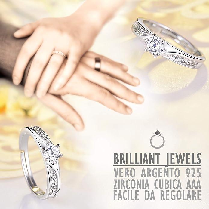 Brilliant Jewels Anillo de Mujer Ajustable de Plata De Ley 925 ...