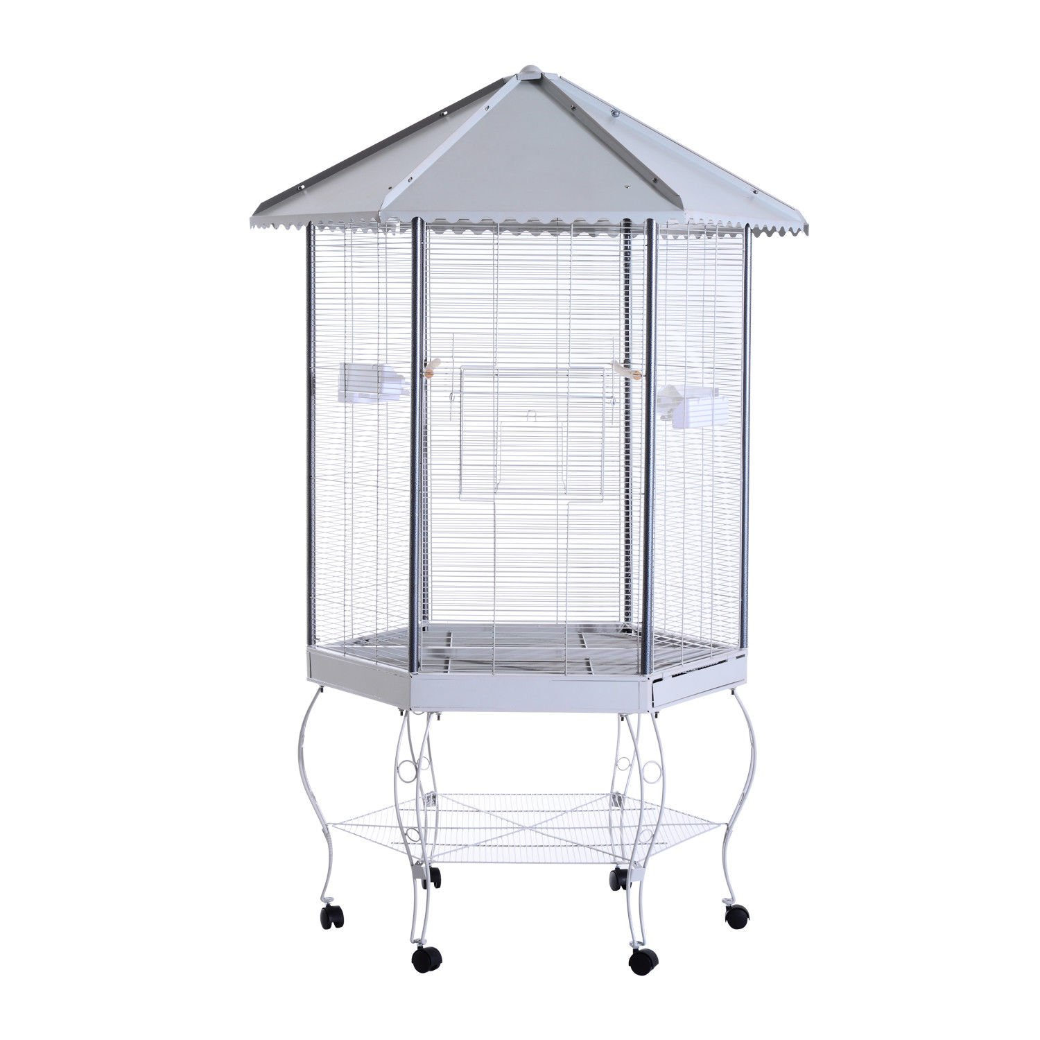 PawHut 44 Hexagon Covered Canopy Portable Aviary Flight Bird Cage With Storage D10-033