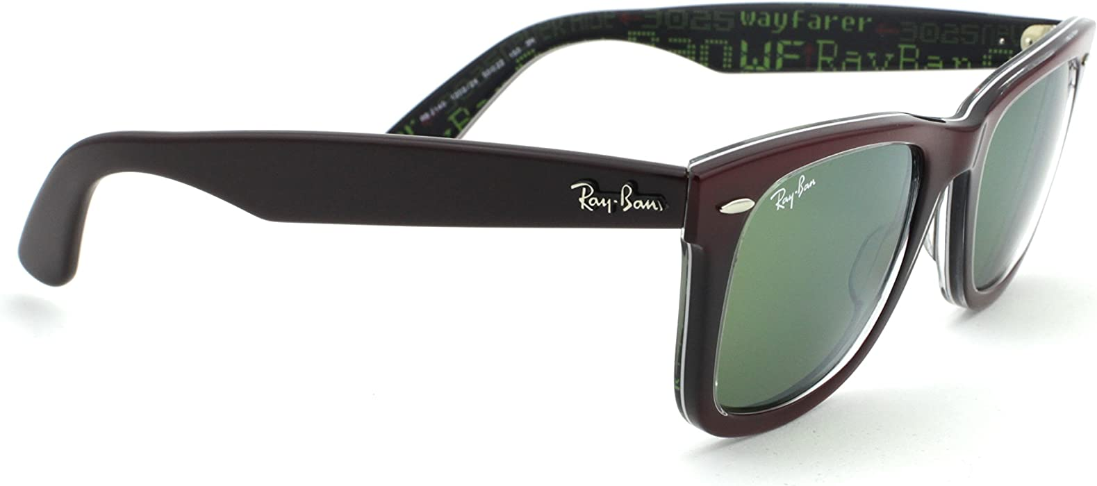 62d9d046834 Amazon.com  Ray-Ban RB2140 12022X Wayfarer PIXEL Red Frame   Green ...
