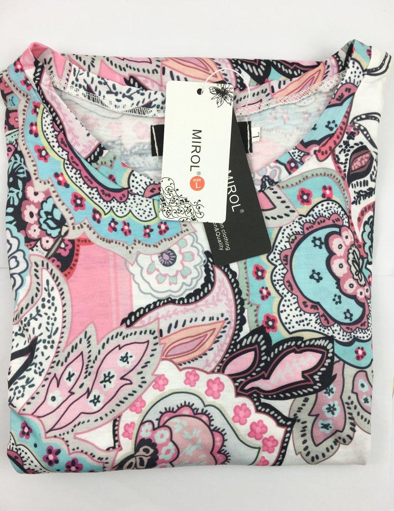 MIROL Womens Summer Short Sleeve Floral Print Irregular Hem Asymmetrical Loose Fit Tunic Tops, Pink, X-Large by MIROL (Image #3)