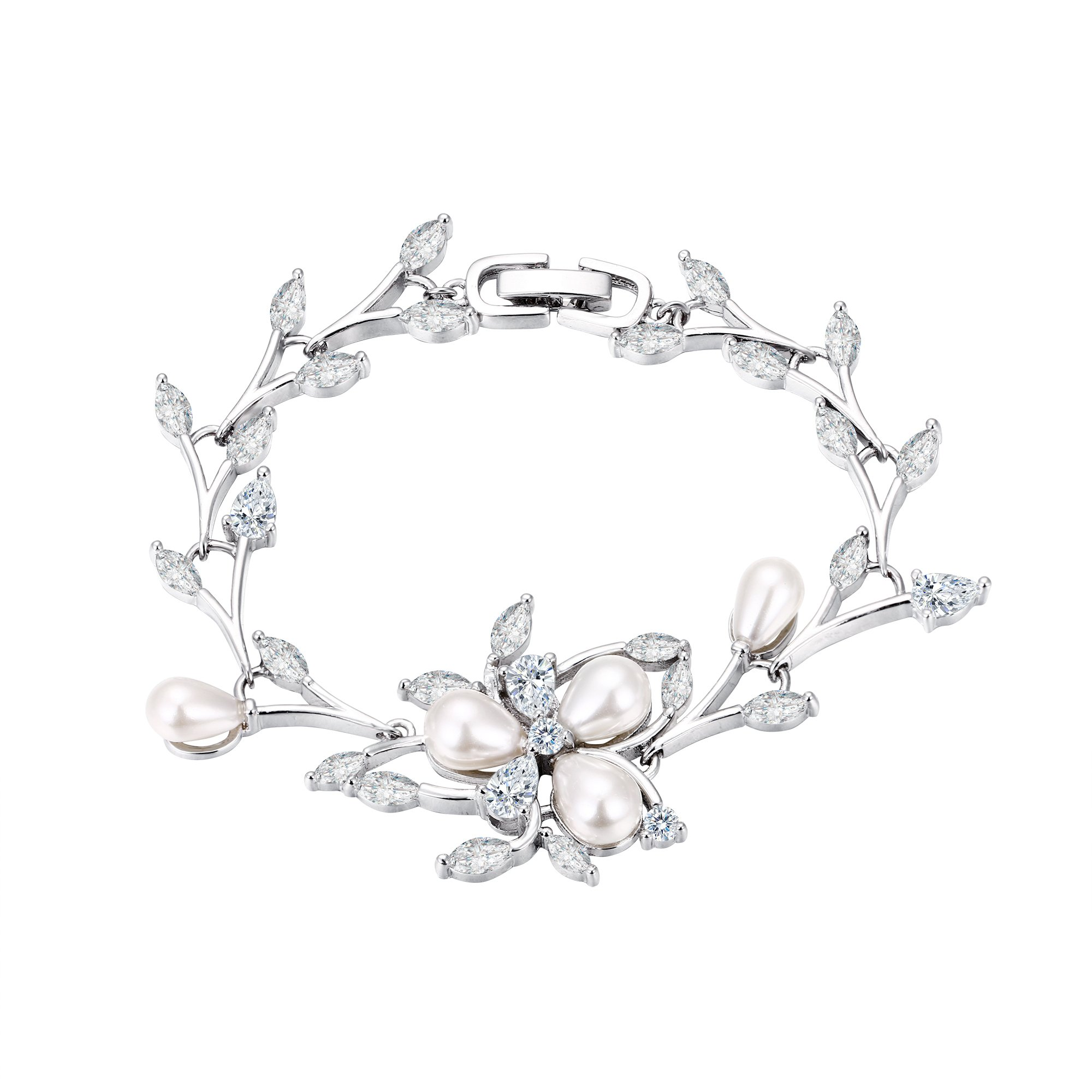 EVER FAITH Women's CZ Simulated Pearl Bridal Flower Leaf Filigree Tennis Bracelet Clear Silver-Tone