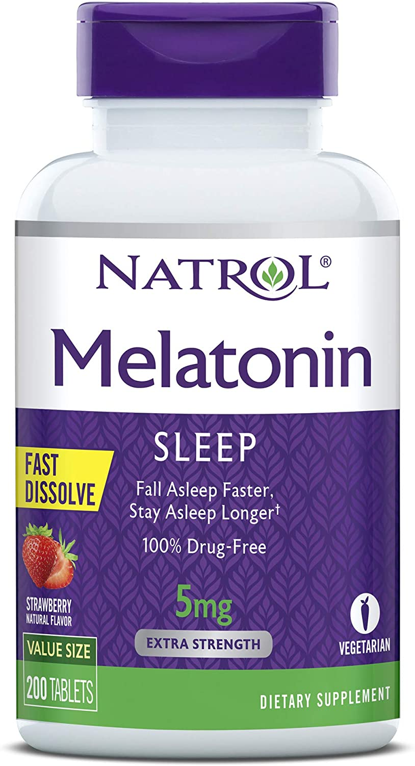 Natrol Melatonin Fast Dissolve Tablets, Helps You Fall Asleep Faster, Stay Asleep Longer, Easy to Take, Dissolves in Mouth, Faster Absorption, Maximum Strength, Strawberry Flavor, 5mg, 200 Count