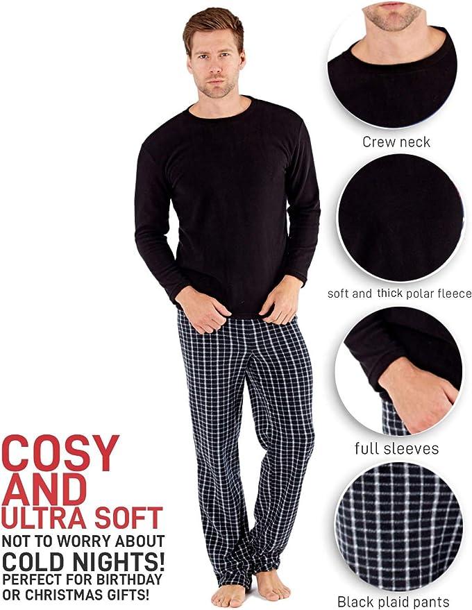 SaneShoppe - Conjunto de Pijama de Manga Larga - Hombre - Pantalón a Cuadros - Negro - M