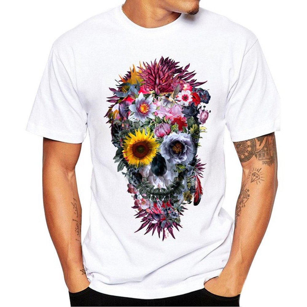 Birdfly Men's O-Neck Fashion Floral Skull Pattern All-White Modal Blouse Tops Shirt Plus Size 2L 3L 4L