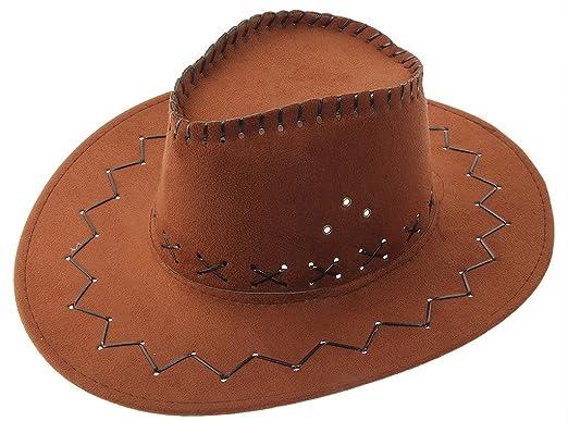 Bigood Enfant Chapeau Western Cowboy Soleil Unisexe Rétro Large Bord Brun d8d97ffb6ca