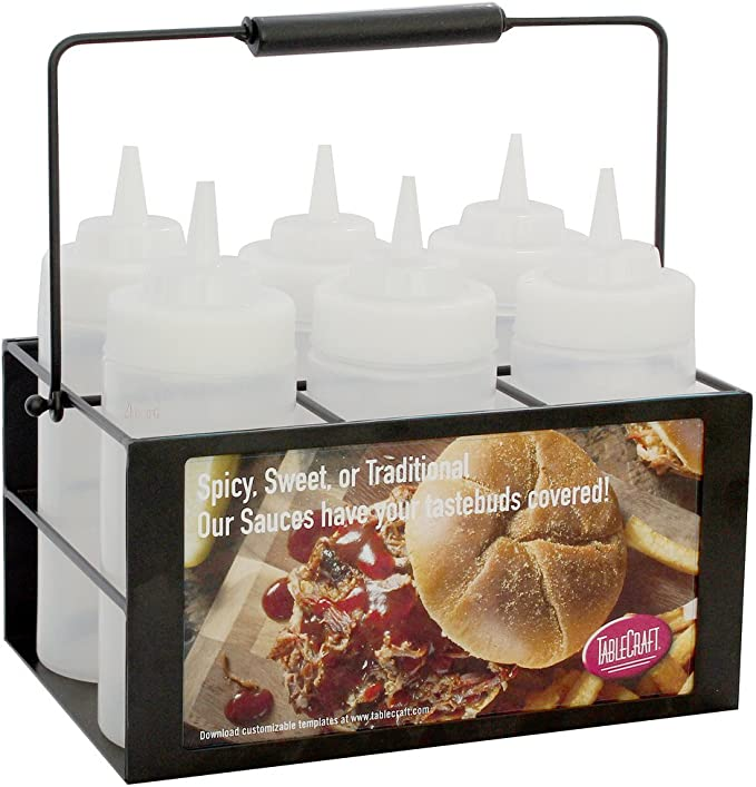 includes 4 bottles Oil Water and Sauces Griddle Bottle Set with Caddy