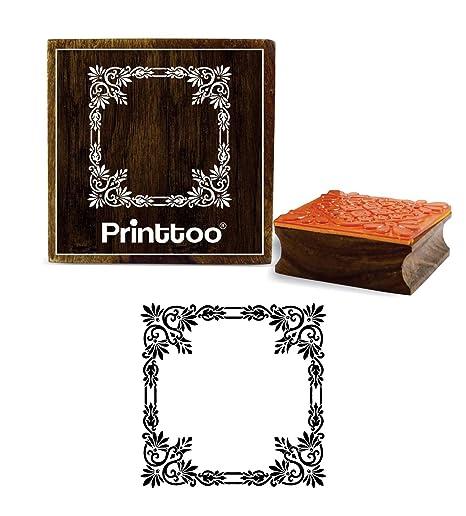 6ec2f28620 Amazon.com: Printtoo Floral Border Frame Design Square Wooden Rubber ...