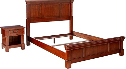 Cheap Home Styles Aspen Rustic Cherry Finish Queen Bed Set modern nightstand for sale