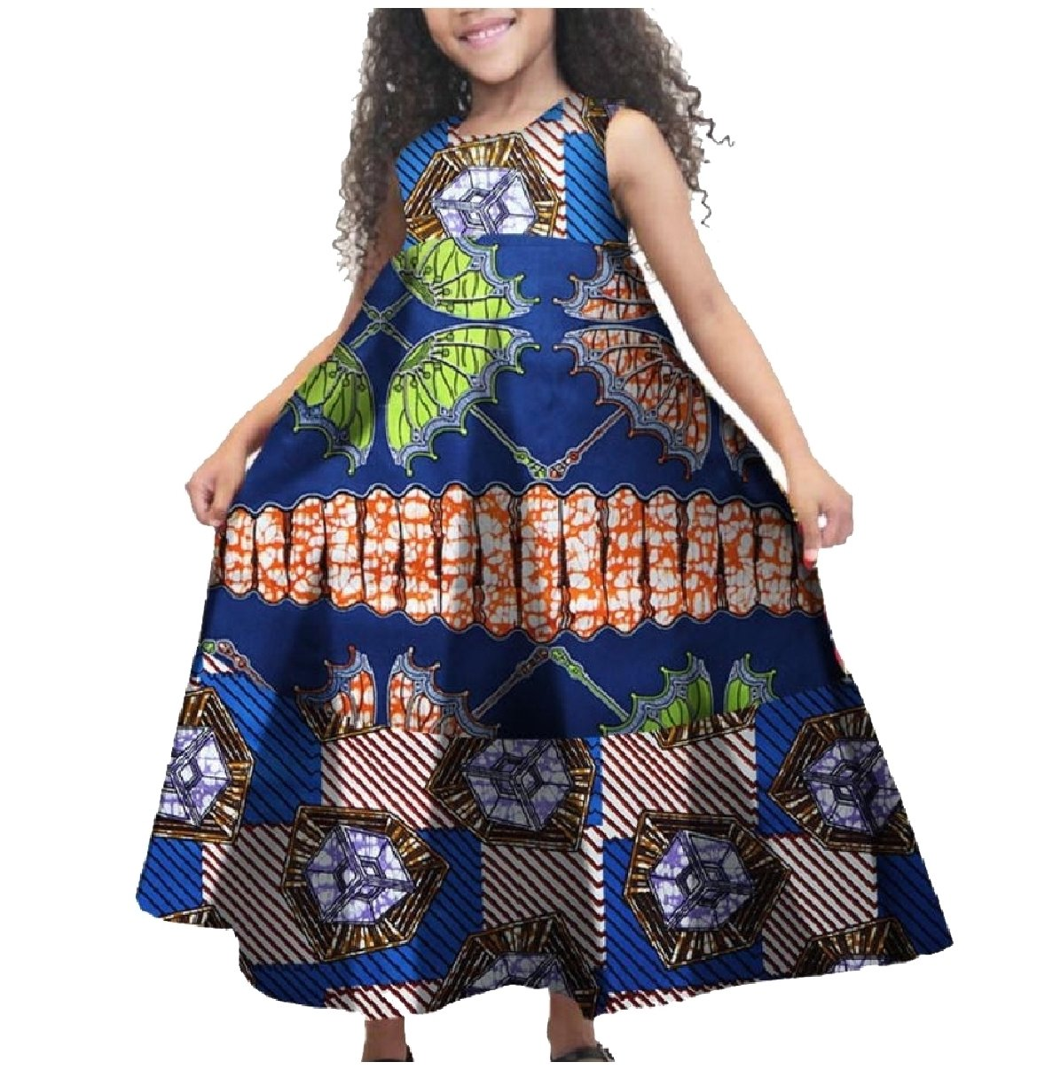 XQS Big Little Girl Fine Cotton African Printed Sleeveless Dresses Dark Blue XXL by XQS (Image #1)