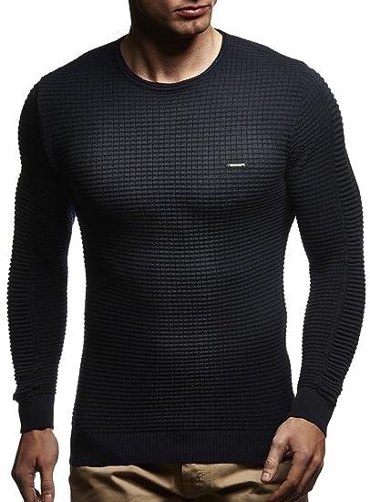 f31fd1e0ab60c LEIF NELSON pour des Hommes Pullover Pull en Tricot Hoodie Basic col Rond  Crew Neck Sweatshirt Longsleeve Manche Longue Sweater Feinstrick LN1545  Meilleurs ...