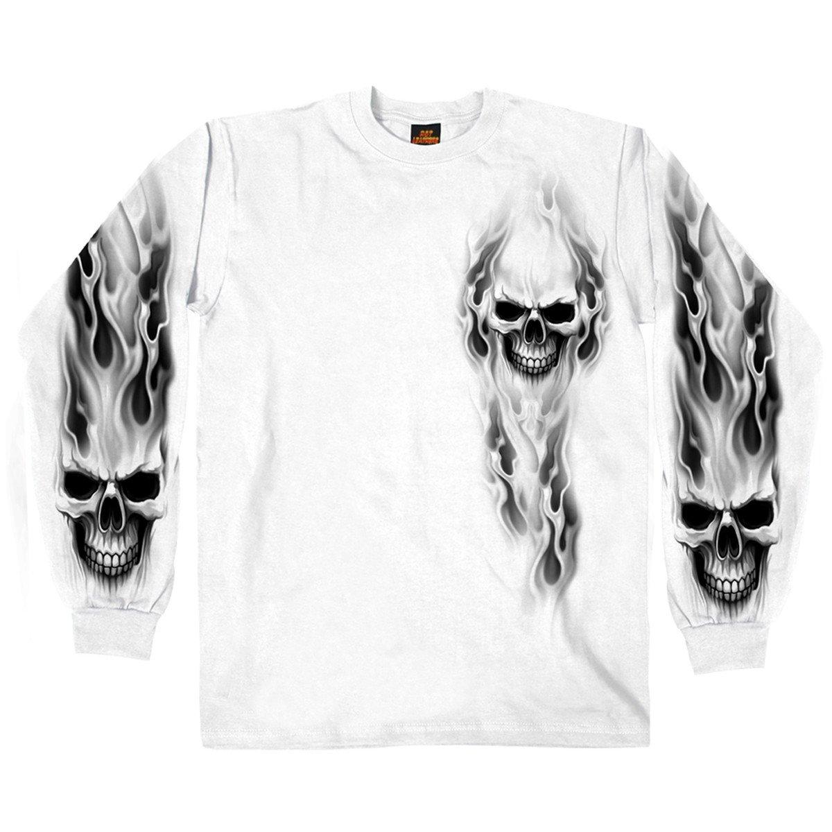 Hot Leathers Men's Ghost Skull Long Sleeve Shirt (White, XX-Large)