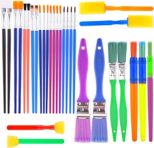 – Assortment of 4 Colors Perfect for Small Hand 24pc Kid's Paint Brushes