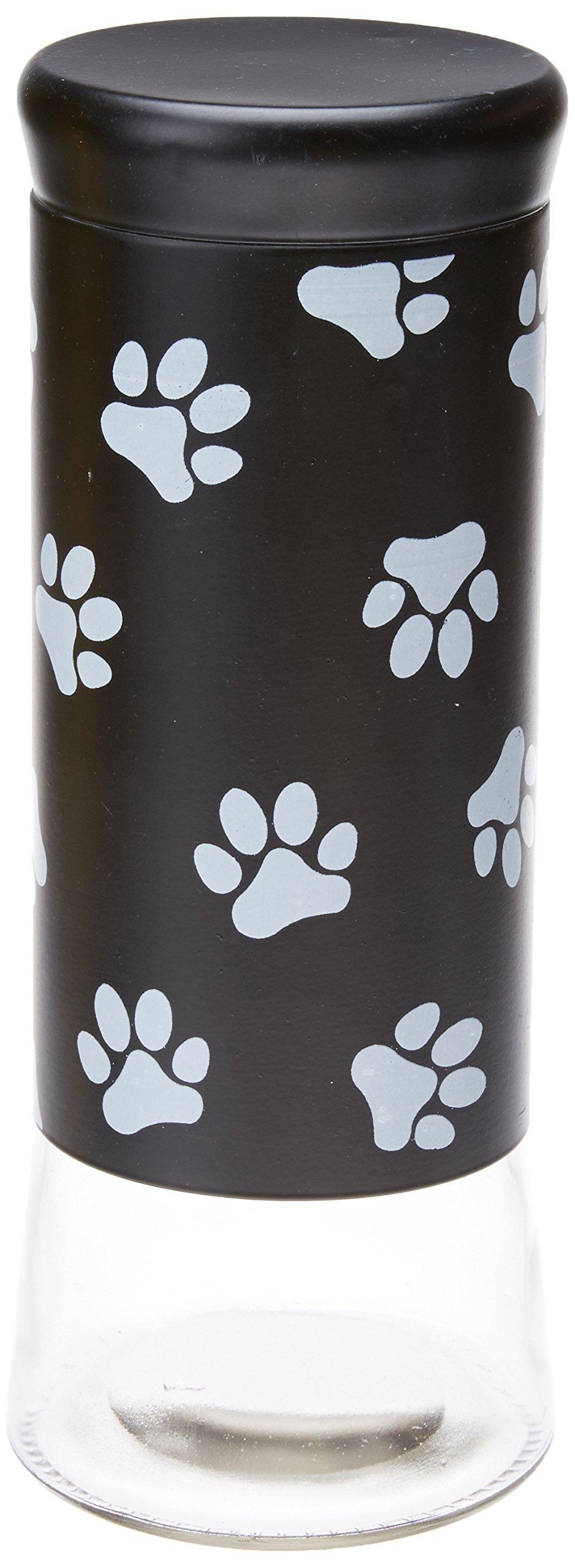 Housewares International 11-1/2-Inch Glass Pet Treats and Snacks Storage Jar, Black Background