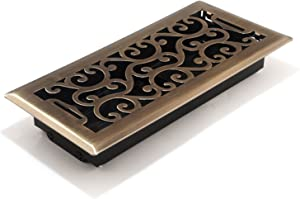 Accord AMFRABC410 Charleston Floor Register, 4-Inch x 10-Inch(Duct Opening Measurements), Antique Brass