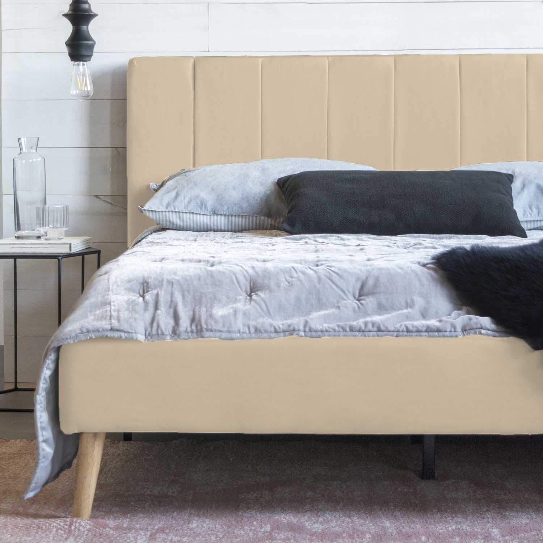 Queen Size Platform Bed Frame and Tufted Upholstered Headboard, Mattress Foundation Wooden Slat Support – No Spring Box Needed Bedframes, Wood Bedframe Beige White
