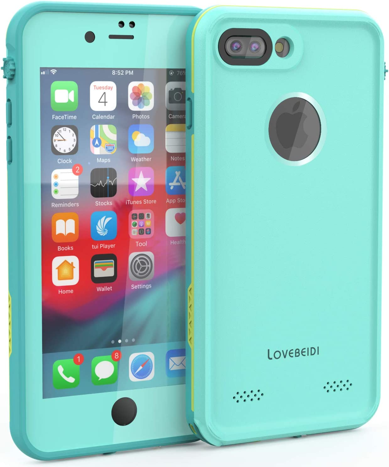 """LOVE BEIDI iPhone 8 7 Plus Waterproof Case Cover Built-in Screen Protector Fully Sealed Life Shockproof Snowproof Underwater Protective Cases for iPhone iPhone 8 7 Plus 5.5"""" (Cyan/Green/Mint Green)"""
