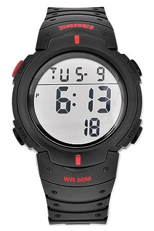 DSstyles Reloj militar para hombre Reloj digital resistente al agua 5ATM con reloj deportivo grande - rosso: Amazon.es: Deportes y aire libre