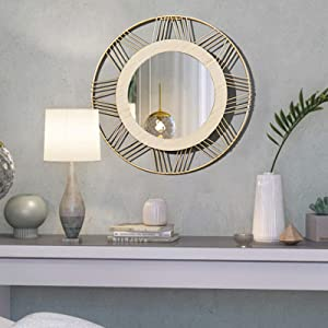 Uaussi Round Wall Mirrors Decorative Gold Metal Wall Décor Hanging Wall Mirror with Wood Frame for Living Room Bedroom Entryway