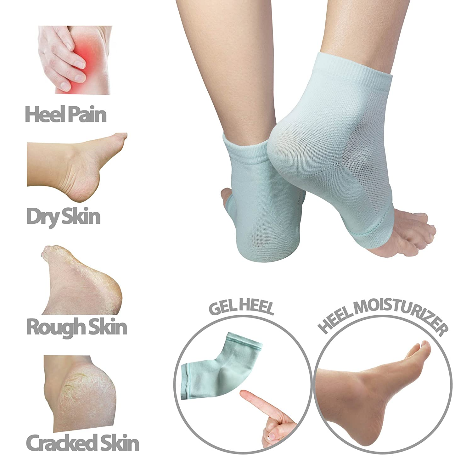 2 PAIR - Moisturizing Gel Heel Socks w/ Enriched Vitamins for Dry Hard Cracked Heels & DIY Simple Home Remedies by Triim Fitness