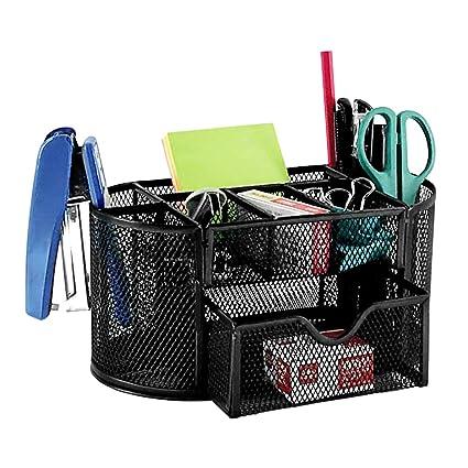 Amazon desktop organizer mesh metal pencil holder 9 in 1 desktop organizer mesh metal pencil holder 9 in 1 multicompartment storage container for pen colourmoves