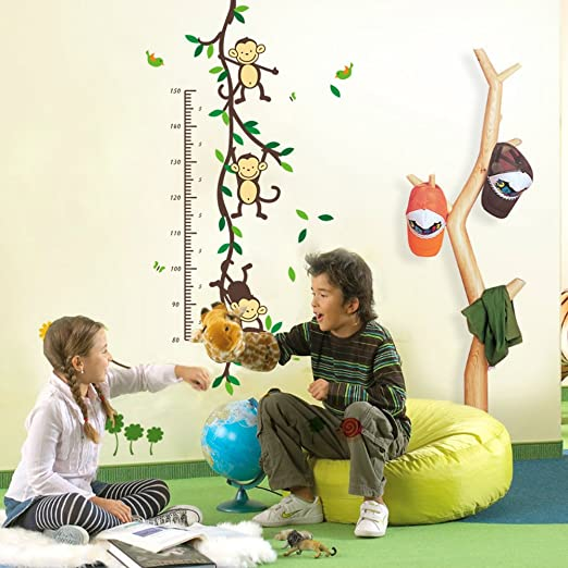 Naughty Monkey Juggling on Tree Branches Monkey Wall Decal Nursery Wall Decal