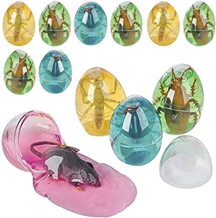 Kneading Good for Kids Sensory Toy 12 Pack Various Colored Putty in an Egg with Plastic Insects Inside Squishing Party Favors Kicko Egg Putty with Pest Molding Playing