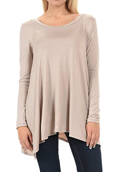 2836d1e3f04 Shamaim Womens Long Sleeve Comfy Loose Fit Round Crew Neck Tunic Top T  Shirts at Amazon Women's Clothing store: