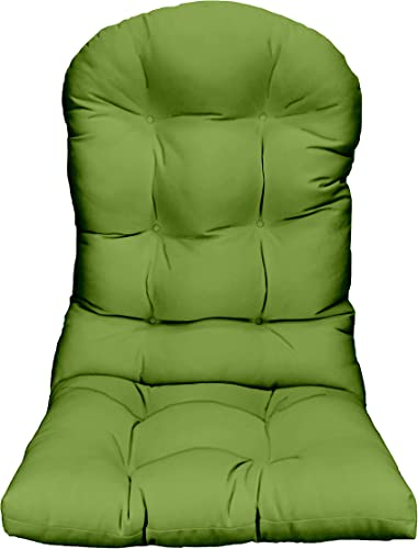 RSH D cor Indoor Outdoor Tufted Solid Adirondack Chair Cushion Seat Pads Choose Fabric Color Quantity Great for Porch, Patio, Deck and Home D cor 1, Gecko Green