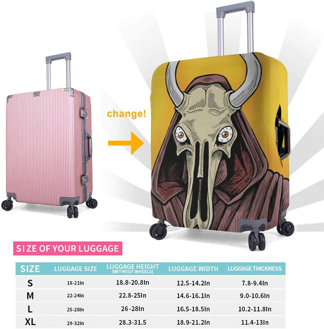 Cow Skull Cleric Elastic Travel Luggage Cover,Double Print Fashion Washable Suitcase Protective Cover Fits 18-32inch Luggage