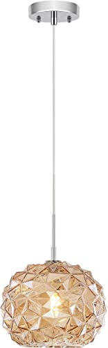 "Light Society LS-C338-CM-CHA Gia 10"" Glass Pendant Light"
