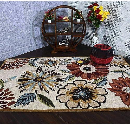 Rugsotic Carpets Hand Tufted Wool 10×13' Area Rug Floral Beige K03066