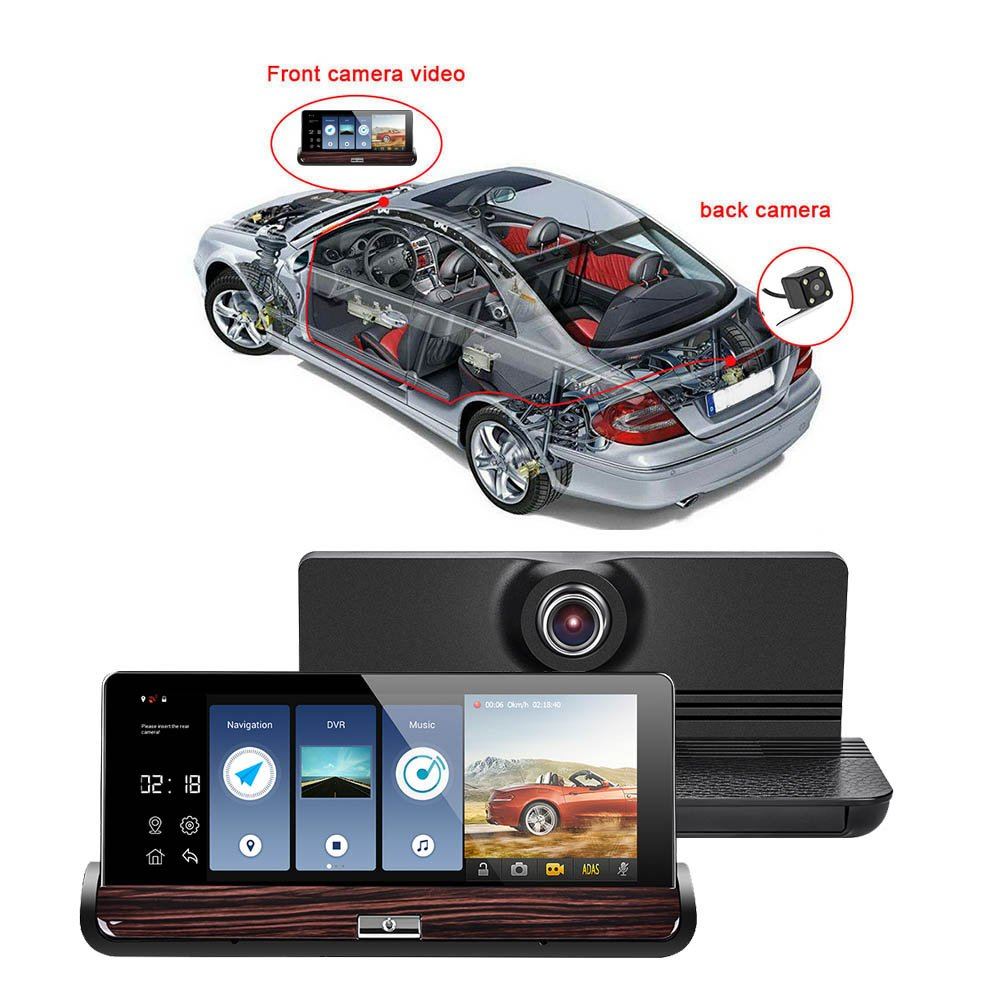 MKChung Driving Recorder, 7 Inch Touch Car Double Recorder Rear View Android WiFi Navigation GPS(V40-3G)