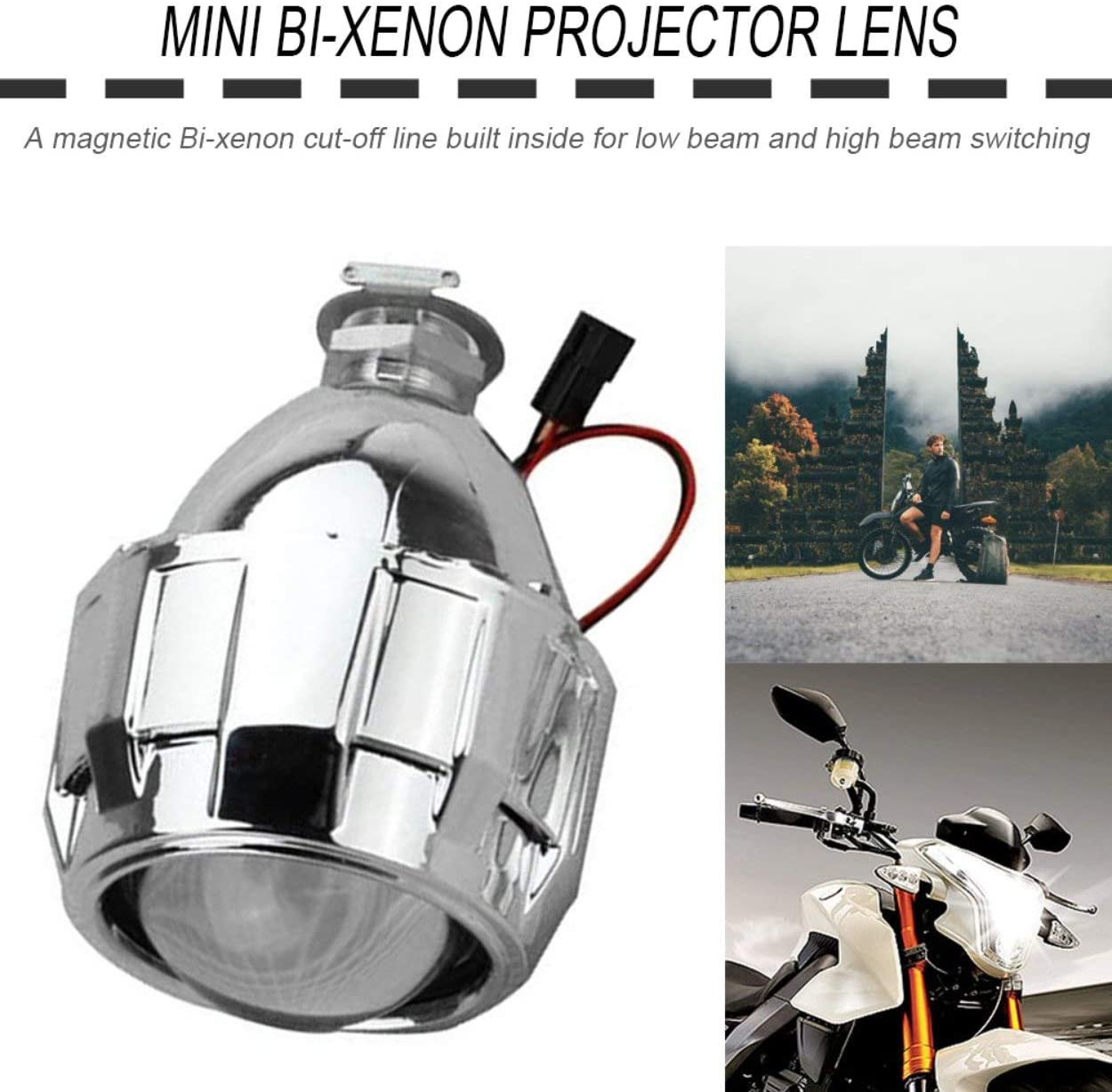 Lorenlli 2.5 Pouces X/énon Mini Bi-x/énon HID Clair Projecteur Couvercle de Lentille Suaire Phare Personnalis/é Phare H1 H4 H7 Argent