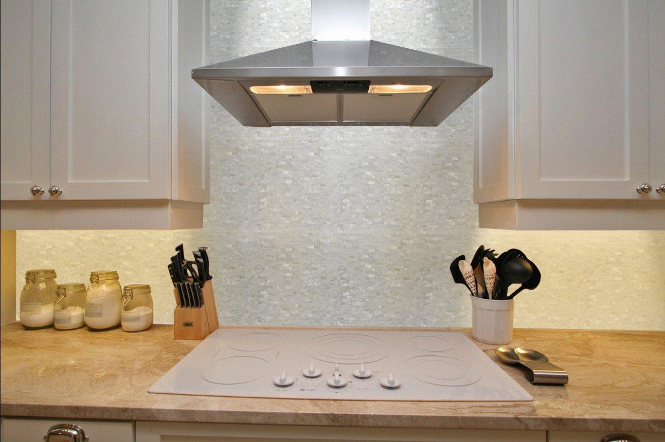 White Mother Of Pearl Tile Seashell Mosaic Tile Kitchen Backsplash