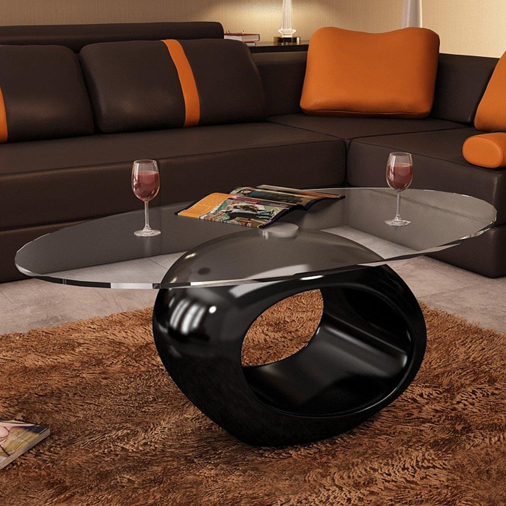 Moderna mesa de centro ovalada. Diseñada para crear un impacto visual llamativo.
