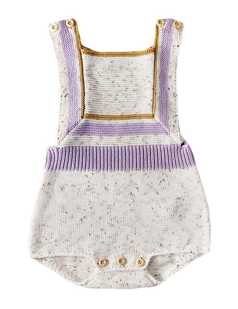 Pinleck Newborn Baby Girls Knit Strap Romper Geo Graphic Striped Jumpsuit Bodysuit (Beige, 66/Fit 6 Months)
