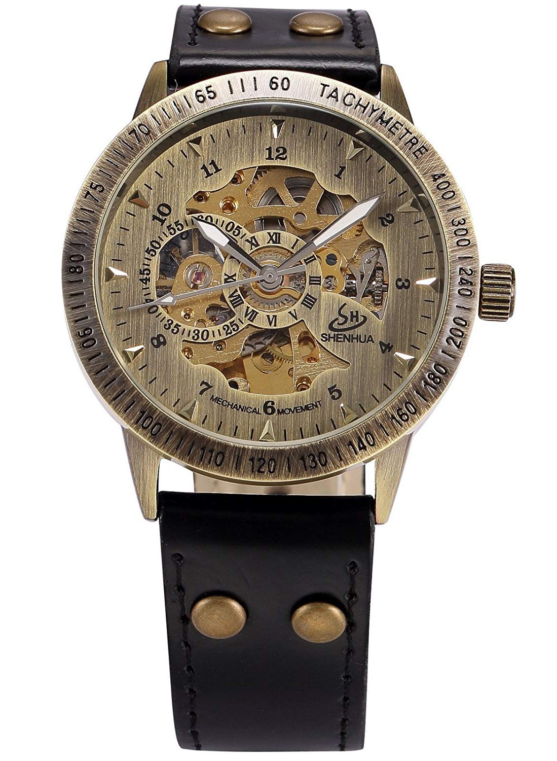 Carrie Hughes Men's Vintage Steampunk Automatic Mechanical Leather Watch 4