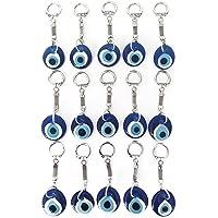 Erbulus Turkish Blue Evil Eye Keychain for Women or Men - Bulk Pack 15 Pieces- Keychains for Car Keys