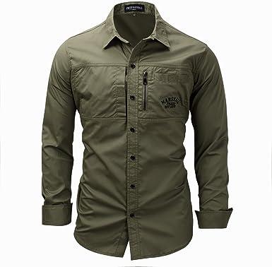 Mempire Camisa Hombre Slim Fit Manga Larga Camisa Casual Algodón fitenss Verde Militar: Amazon.es: Ropa y accesorios