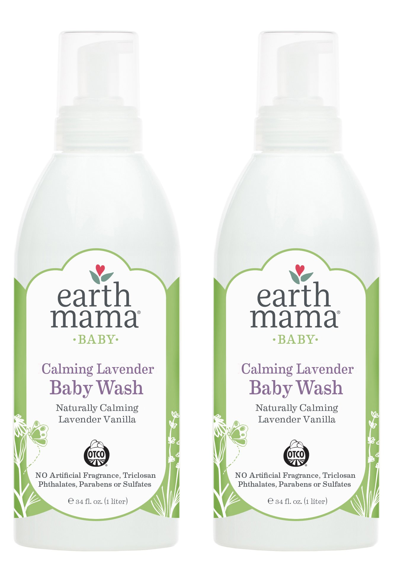 Earth Mama Calming Lavender Baby Wash with Gentle Castile Soap for Sensitive Skin, 34-Fluid Ounce (2-Pack) by Earth Mama