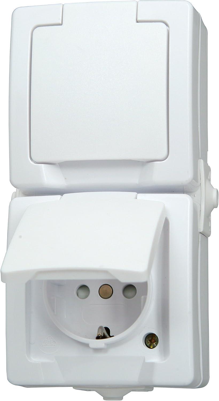 Kopp 136956008 Nautic Prise Type/F Double pour pi/èce Humide avec Protection Terre am/élior/ée et clapet Montage en saillie