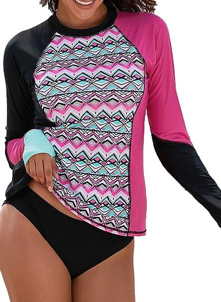 5fc9433d33 GLUDEAR Womens Long Sleeve Rashguard Swimwear UPF 50+ UV Sun Protection  Athletic Tops