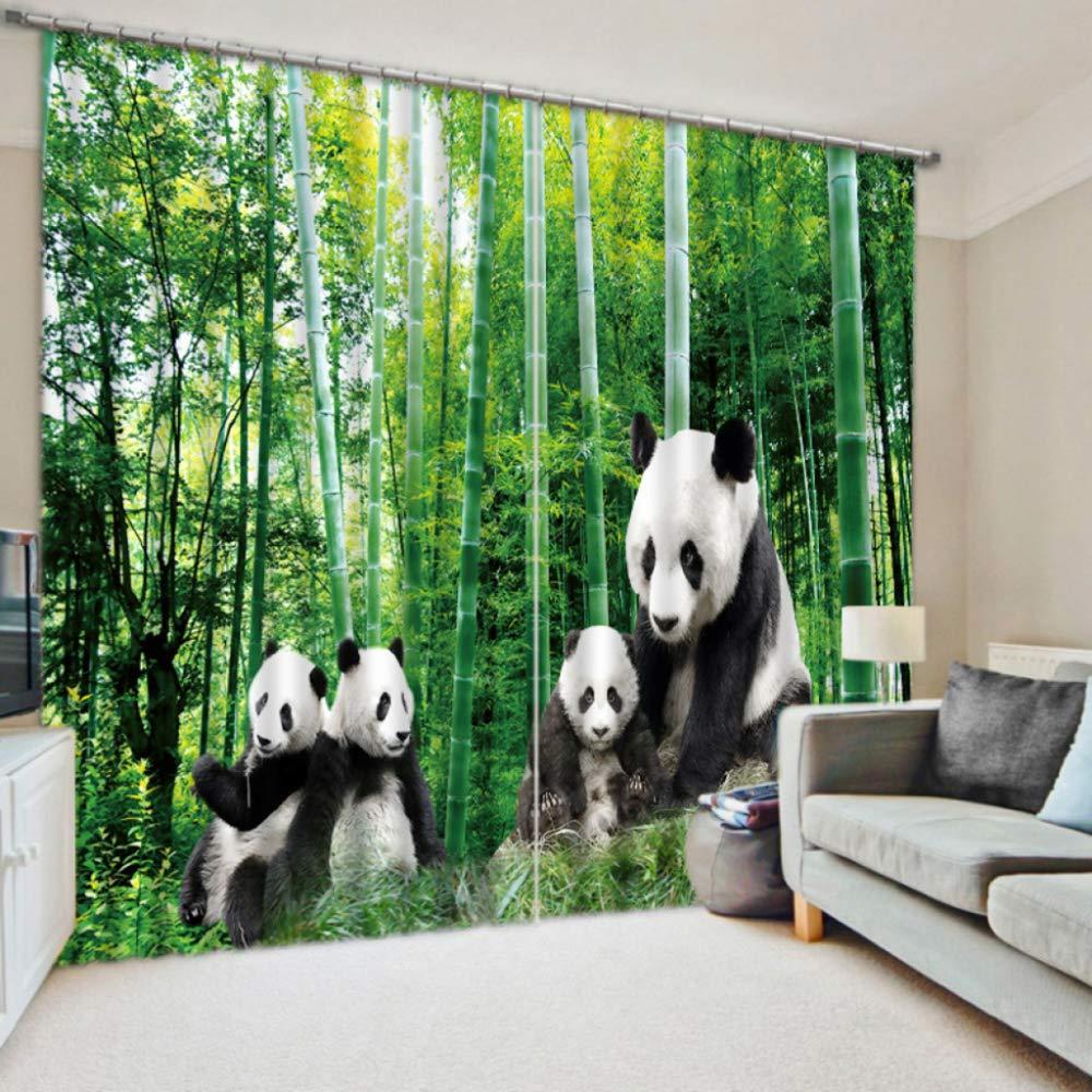 SHASHA Vorhänge 3D 2 Panel Eyelet Ring Top Anti-UV Thermal schwarzout Print Persönlichkeit Vorhänge, Einschließlich Haken Und Premium Roman Ringe - Panda,W320cmH270cm B07HD6Q73Q Vorhnge