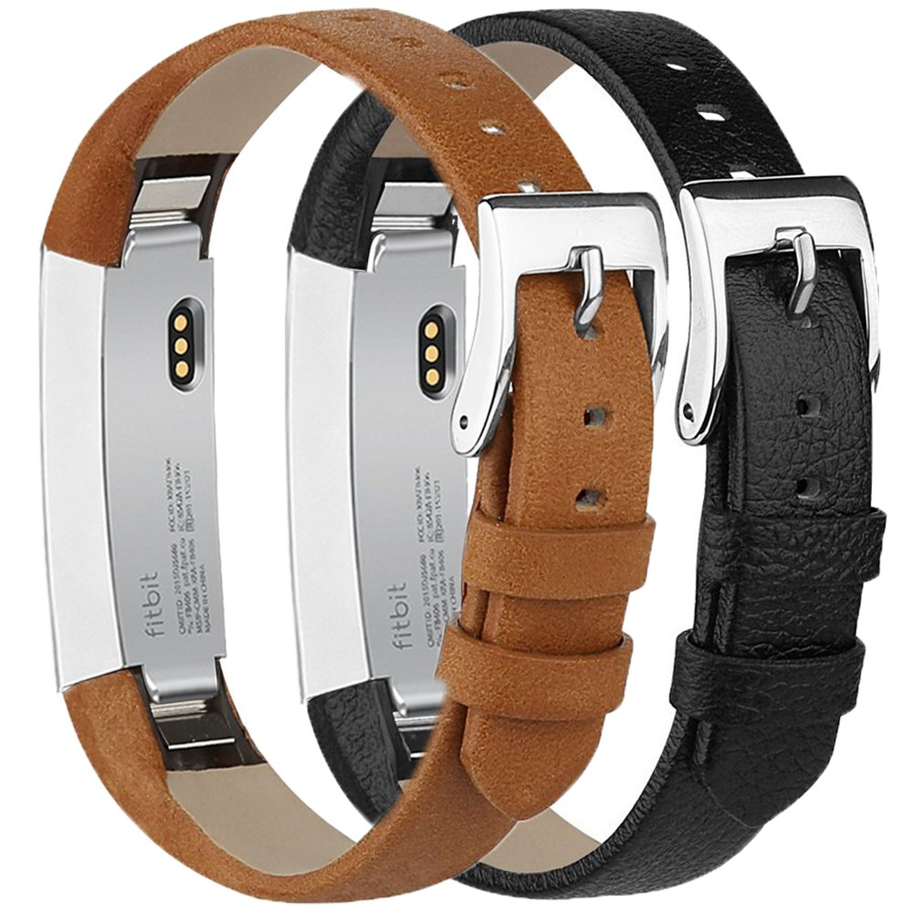 Tobfit Compatible with Fitbit Alta HR Bands/Fitbit Alta Leather Bands (2 Pack), Genuine Leather Replacement Bands Stainless Steel Buckle Compatible with Fitbit Alta HR Alta