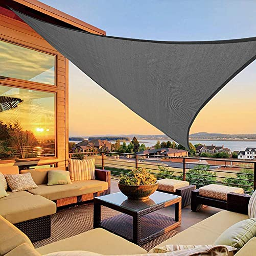 FQM Sun Shade Sail UV Block Canopy Garden Canopy Triangle 10'x10'X10' Waterproof Oxford Cloth Anti-UV Sunburn Patio Cool Off Camping Large Occlude Outdoor Lawn Backyard BBQ Gift Grey