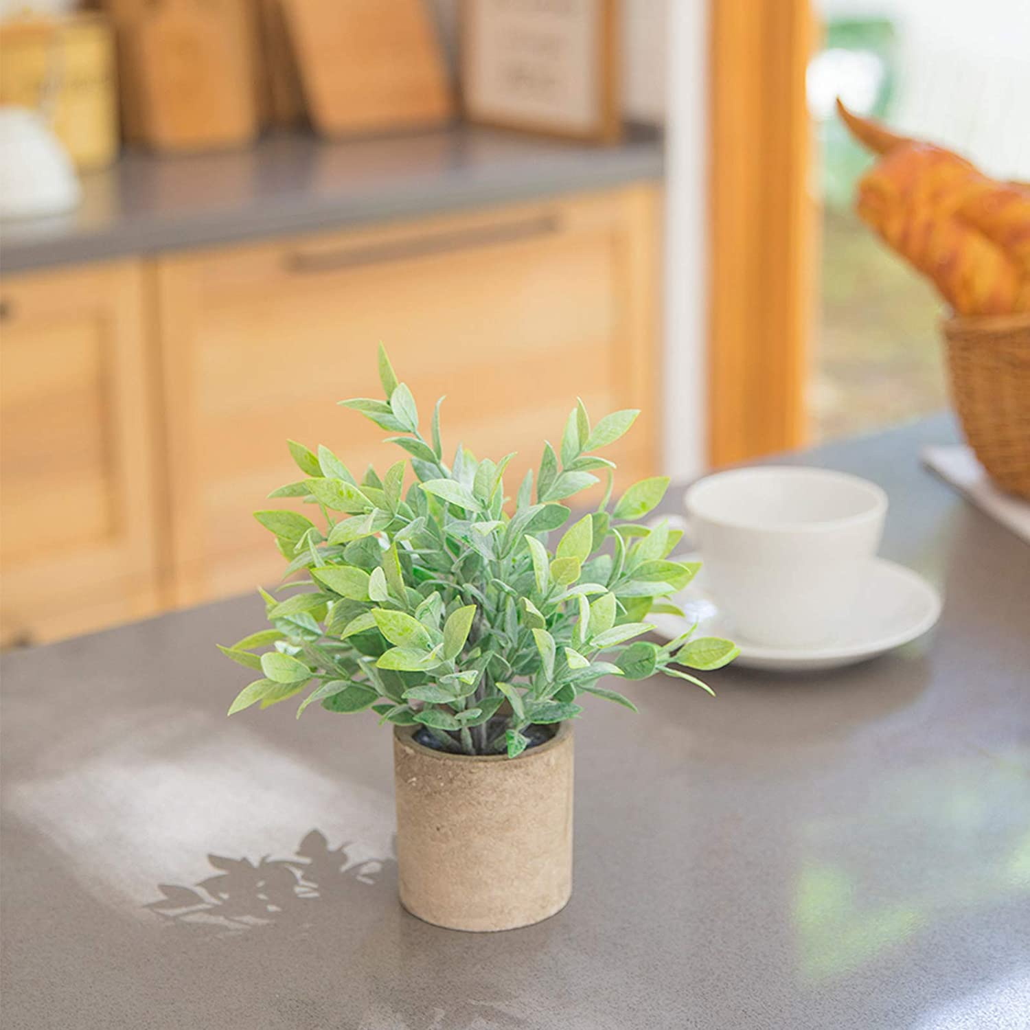 THE BLOOM TIMES Set of 3 Small Artificial Plants in Pots Rustic Plastic Fake Greenery Eucalyptus Rosemary Faux Potted Plants for Home Office Desk Farmhouse Bathroom Bookshelf Kitchen Indoor Decor