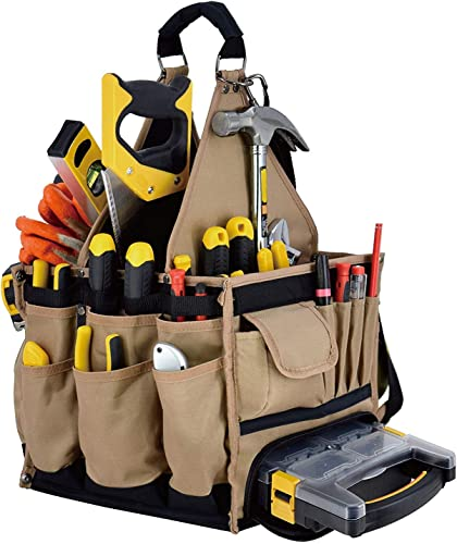 Jackson Palmer Extra Large 11 Tool Tote Carrier, 28 Pockets with Premium Parts Case Electrical Maintenance Tool Bag