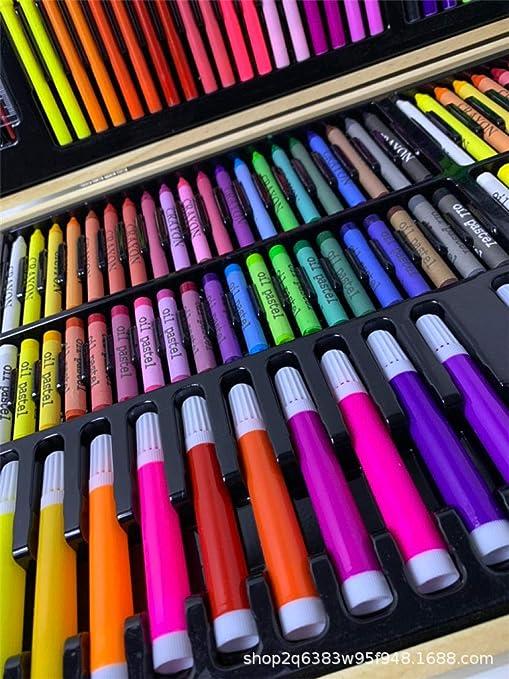 ZXUXU Set de Arte Lápices de Colores para niños 180 Piezas Caja de Madera Crayones Color Art Brush Set Caja de Regalo @ Photo Color_Un tamaño: Amazon.es: Hogar