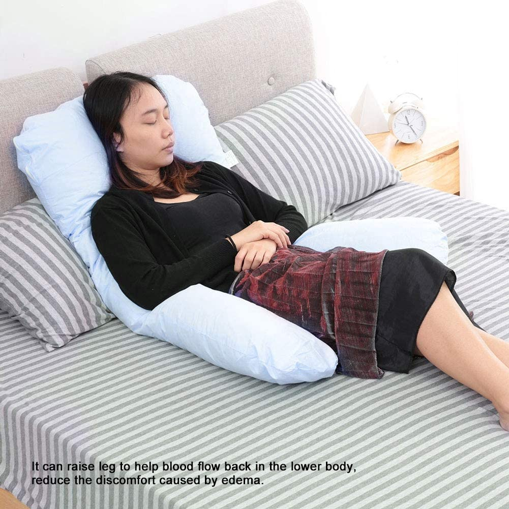 AYNEFY Pregnancy Support Pillow,U-Shaped Pregnancy Pillow and Full Body Maternity Pillow for Pregnancy Nursing Sleeping Support Blue